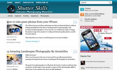 SocialWebCafe: Screen shot of shutterskills.com