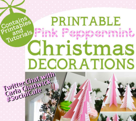 Printable Pink Peppermint Christmas Decorations eBook by Carla Chadwick