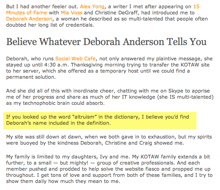 Katherine Kotaw's testimonial for Deborah Anderson