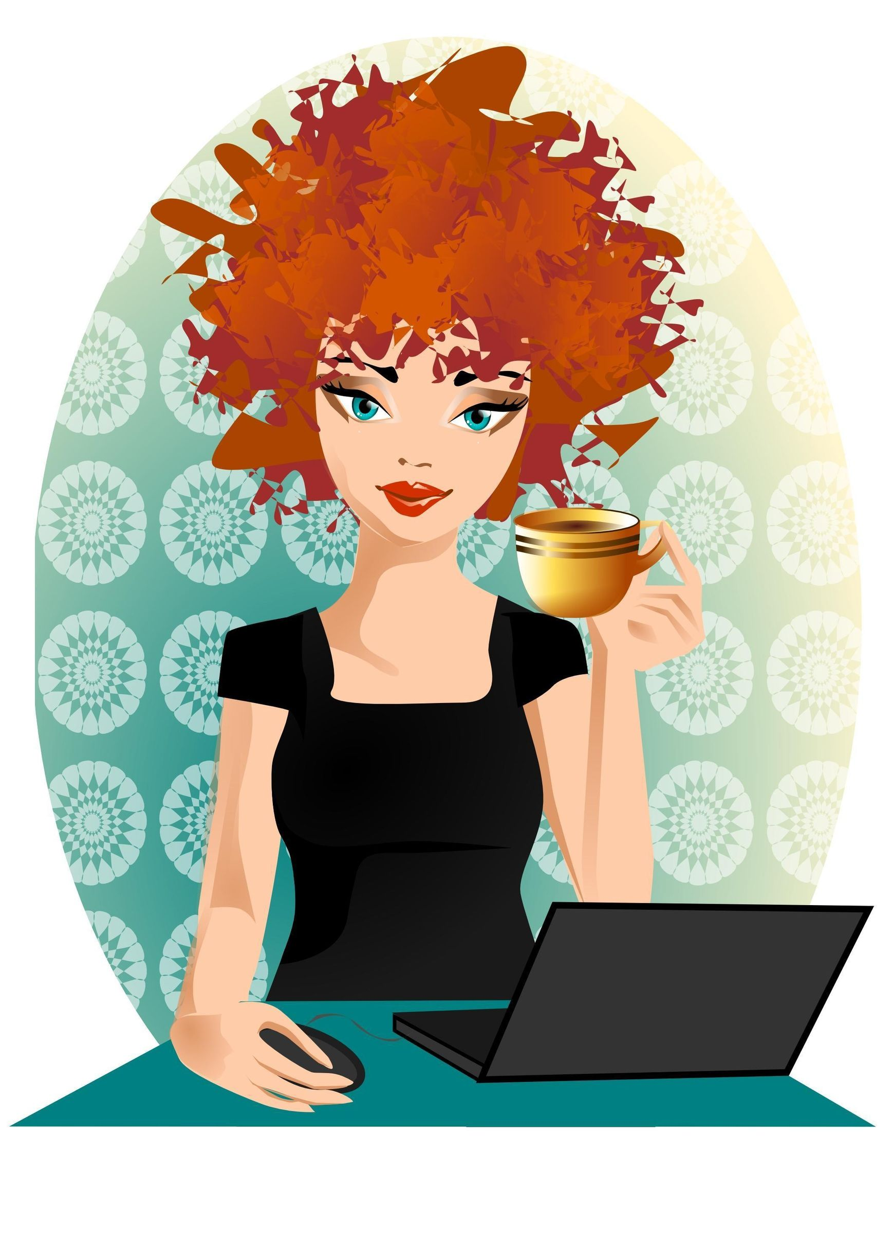 Red Head with computer